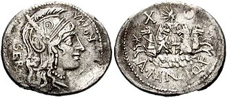 Manlia (gens) - Denarius of Aulus Manlius, 118–107 BC.  The obverse depicts a head of Roma, while Sol drives a quadriga on the reverse.
