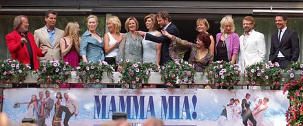 Posing together with the actors from the motion picture Mamma Mia! The Movie on 4 July 2008, are the original ABBA members. Far left, Benny Andersson. Fifth from left, Agnetha Faltskog, with her hand on Anni-Frid Lyngstad's shoulder. Second from right, Bjorn Ulvaeus. ABBA 2008 Av Daniel Ahs.jpg