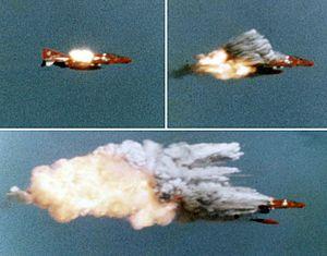 AIM-9 Sidewinder - A Sidewinder hitting a QF-4B drone (1974)