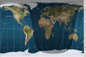 Advanced Land Observation Satellite - Satellite orbital paths, as of October 2013.