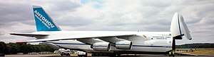 Antonov An-124 Ruslan - An-124-100 kneeling with front ramp down (aircraft fuselage tilted and front wheels retracted)