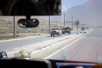 Technical (vehicle) - ANA column, including a technical in the front, on the road between Kabul and Jalalabad