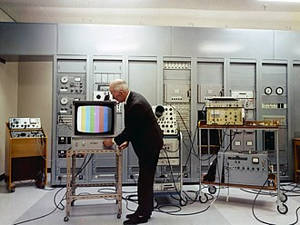 Color television - A color television test at the Mount Kaukau transmitting station, New Zealand, in 1970. A test pattern with color bars is sometimes used when no program material is available.