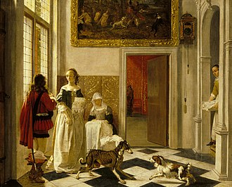 "Ascott House - ""Lady receiving a letter"" by Ludolph de Jongh (1616–1679), bought by Baron Lionel de Rothschild in 1842"