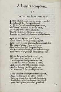 A Lovers Complaint 1609 poem by William Shakespeare