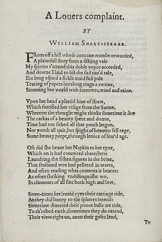"A Lover's Complaint - The first page of ""A Lover's Complaint"" from Shakespeare's Sonnets, 1609"