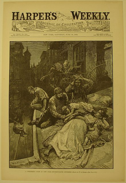 A Sweltering Night in New York, 1883. Brooklyn Museum. A Sweltering Night in New York - Tenement House Sufferers, 1883. X1042.141.jpg