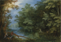 A WOODED RIVER LANDSCAPE WITH SPORTSMEN.PNG