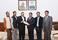 A delegation of Manipur Autonomous District Councils led by the Chairman of Churachandpur District Council, Shri Langkhanpau Guite presenting a memorandum to the Minister of State for Development of North Eastern Region (IC).jpg