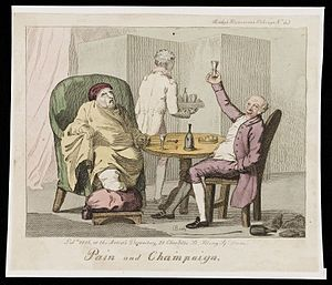 "Bon viveur - ""Pain and Champaign"" (A gouty man at table with a bon viveur drinking champagne)"