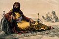 A portrait of George Lloyd in Arab dress reclining and smoki Wellcome V0019297.jpg