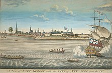 Obraz przedstawiający statek strzelający z armat w porcie.