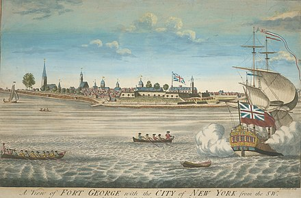 Fort George and the city of New York c. 1731 A view of Fort George with the city of New York, from the SW.jpg