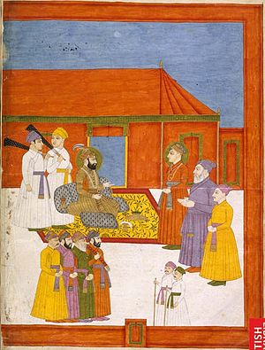 Jahandar Shah - Mughal Army commander Abdus Samad Khan Bahadur being received by Jahandar Shah