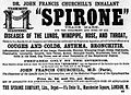Advertisement; 'Spirone' inhaler of Dr. J. F. Churchill. Wellcome L0006525.jpg
