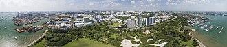 PSA International - Aerial panorama of West Coast Park in relation to PSA Singapore's Pasir Panjang Port Terminal, shot 2016.