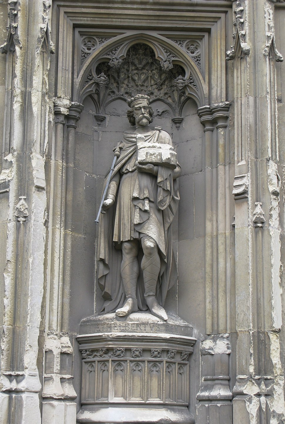 Aethelberht of Kent sculpture on Canterbury Cathedral