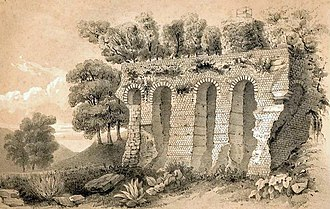 Siege of Aiguillon - A derelict section of Aiguillon's walls, pictured in 1855