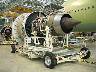 Turbofan - Engine Alliance GP7000 turbofan (view from the rear) awaiting installation on an Airbus A380 under construction