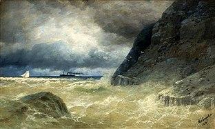 Aivazovsky Seascape with a steamer