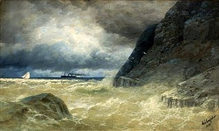 Seascape with a steamer.