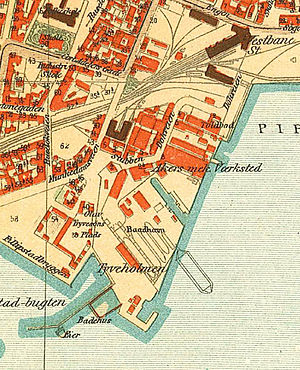 Tjuvholmen - Map of Tjuvholmen and Aker Brygge from 1917