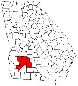 Albany metropolitan area, Georgia - Map of Georgia highlighting the Albany metropolitan area.