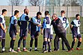 Alec Jackson, Captain of the 79-80 cup run team, meeting players of the 19-20 Croydon FC squad. Jan 2020.jpg