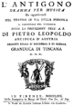 Alessandro Felici - Antigono - titlepage of the libretto - Florence 1769.png