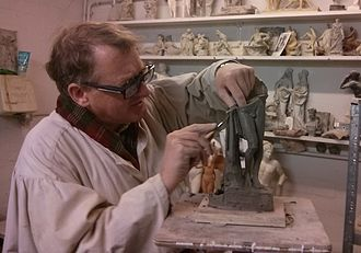 Alexander Stoddart - Scottish sculptor Alexander 'Sandy' Stoddart at work in his studio at the University of the West of Scotland, 2013