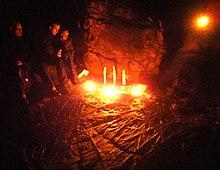 Un Álfablót (rito degli Elfi) per il Winternights germanico a Lilla Edet, Gotaland Occidentale, Svezia.