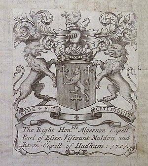 Algernon Capell, 2nd Earl of Essex - 1701 bookplate of the 2nd Earl with armorials of Capell: Gules, a lion rampant between three cross-crosslets fitcheé or
