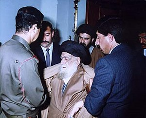 Shia Islam in Iraq - Grand Ayatollah al-Khoei visits Saddam Hussein after Shia Uprisings in 1991.