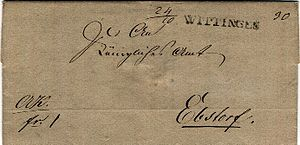 Pre-adhesive mail - 1834 pre-adhesive mail with Wittingen straight-line town handstamp to Ebsdorf