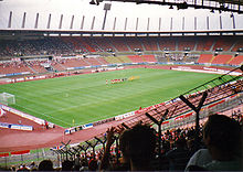 The Rheinstadion in Düsseldorf where the match took place.
