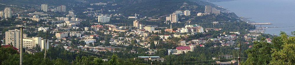 A panoramic image of the resort town of Alushta.