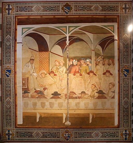 Ambrogio Lorenzetti, San Ludovico di Tolosa si congeda da papa Bonifacio VIII, 1336-37 circa, dalla sala capitolare, Capella Bandini Piccolomini, San Francesco, Siena