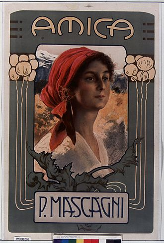 Amica (opera) - Poster for Amica published by Casa Ricordi in 1905
