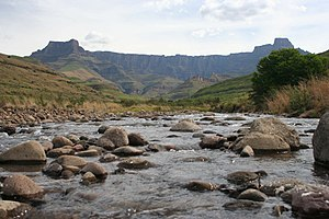 Tugela River - The Tugela River with the Amphitheatre in the background