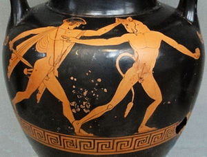 Illustration of Theseus slaying the Minotaur o...