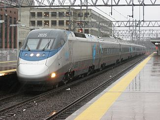 An Acela Express trainset stops at Union Station