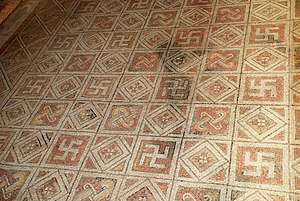 Swastika - Ancient Roman mosaics of La Olmeda, Spain.