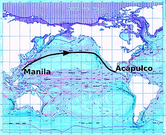 Manila galleon - Northerly trade route as used by eastbound Manila galleons
