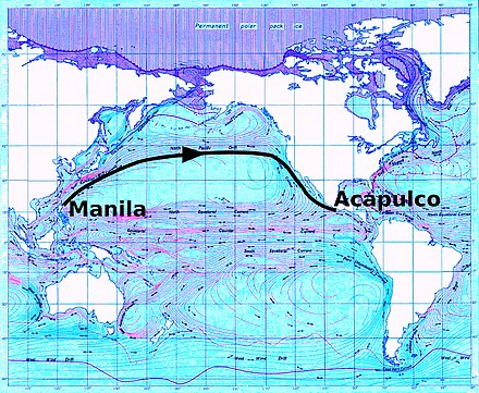 Northerly trade route as used by eastbound Manila galleons Andres Urdaneta Tornaviaje.jpg