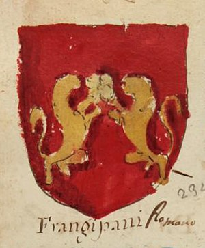 Frangipani family - Arms of Frangipani, from a manuscript circa 1700, now in the Biblioteca Estense in Modena