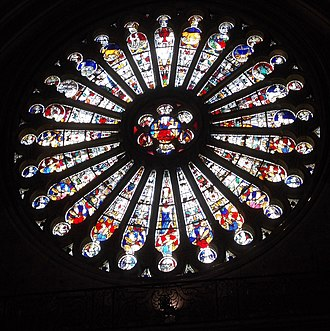 Angers Cathedral - Angers Cathedral South Rose Window of Christ (centre) with elders (bottom half) and Zodiac (top half), 1451