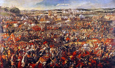 The Battle of Vienna in 1683 broke the advance of the Ottoman Empire into Europe. Anonym Entsatz Wien 1683.jpg
