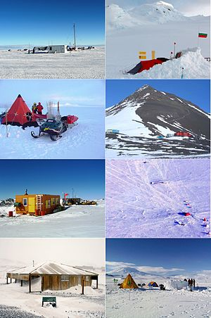 Antarctic field camps - Antarctic field camps. Clockwise: Patriot Hills, Academia, Fossil Bluff, Sky Blu, Erebus, Scott's Hut, Lower Erebus, Casanovas.