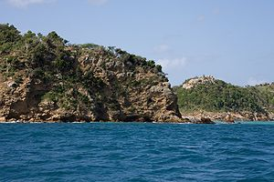 Antigua - Rocky shoreline near St. John's.