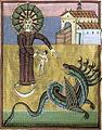Apocalisse di enrico II, il drago minaccia la donna, 1000-1020, bamberga, staatsbibliothek, ms. 140 f29 v. 20,4x29,5 cm.jpg